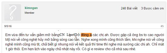 Review CN giảm béo tại Đông Á Hải Phòng
